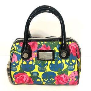 Betsey Johnson Neon Skull Roses Small Handbag